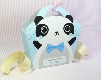 Kawaii Blue Panda Giftbag Cute Valentine's Day Easter Love Birthday Party Treat basket Panda Bag Packaging Editable Printable PDF