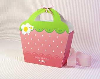 Kawaii Pink Strawberry Giftbag Cute Valentine's Day Easter Love Birthday Party Treat basket Strawberry Bag Packaging Editable Printable PDF
