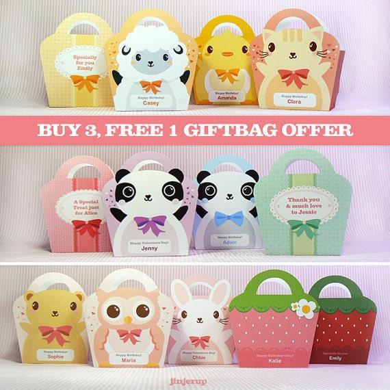 Kawaii Giftbag OFFER Buy 3, Get 1 FREE Cute Valentine's Day Easter Love Birthday Party Treat basket Packaging Editable Printable PDF
