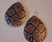 Striking Python Snakeskin Printed Oblong Dangle Earrings