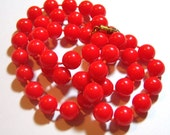 vintage cherry red long necklace