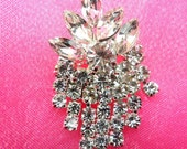 """ACT/XR182 Crystal Rhinestone Applique Glorious Dangles Glass Silver Embellishment 1.5"""" (ACT/XR182-slcr)"""