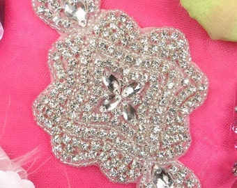 """XR170 Bridal Sash Crystal Rhinestone Applique Silver Beaded 7"""" ( XR170-slcr )"""