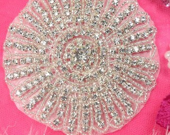 "XR173 Crystal Rhinestone Applique Silver Beaded 4""   (XR173-slcr)"