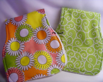 Contoured Burp Cloth in Hello Sunshine in Candy - Shoulder Cloth - Set of Two