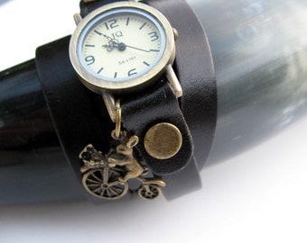 Sale - Women's Watch Black Leather Watch , Wrap Around Wrist Watch, Bronze Watch - Charm or No Charm