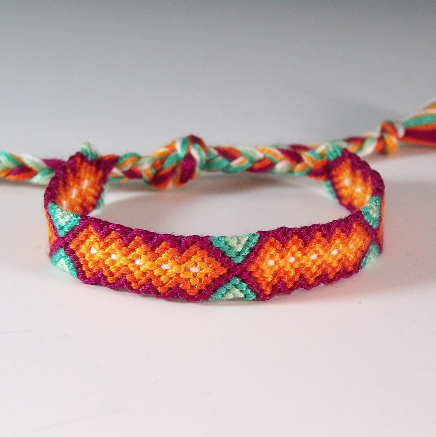 Small friendship bracelet red hot aqua jewelry embroidery