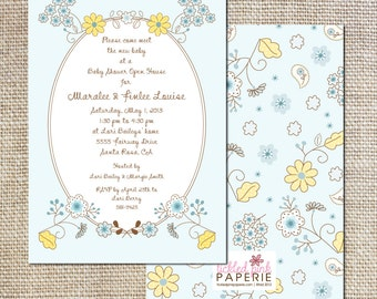 Baby Shower Invitation with Spring Daisies and Bluebells