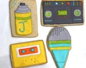 Totally 80s Music cookie favors - One dozen