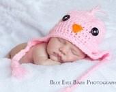 Pink Birdie Hat - Newborn to 3 Months - Hand Crocheted - Made To Order - Photographer's Prop