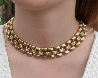 Vintage Glamorous Gold Bookchain Choker with Faceted Clear Stones