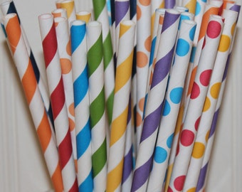 Paper Straws, 25 IT'S MY PARTY Assorted Paper Straws, Birthday Party, Drinking Straws, Striped Paper Straws, Birthday Party Straws, Retro
