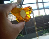 Vintage Faux Tortoise shell butterfly mirror key chain with long gold tone chain