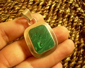 Large Vintage sterling silver 925 Mexico Malachite rectangular square Pendant Unique Find