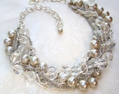 Chunky Silver Crystal Pearl Vintage Wedding Necklace Bridal Crystal Statement Necklace Twisted Pearls - Silver Lining