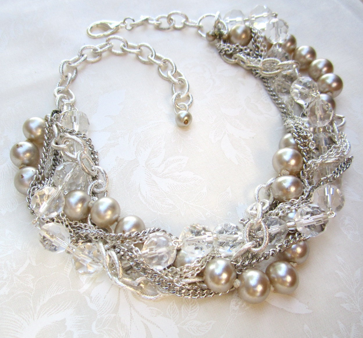chunky wedding necklace silver pearl bridal necklace