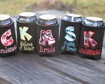Personalized-Monogrammed Appliqued Wedding Coozie Koozies