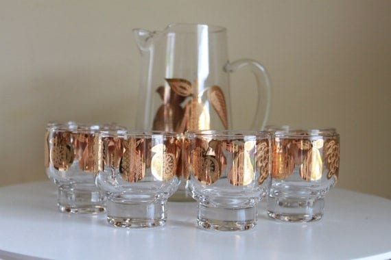 Vintage Culver Glassware Set - Gold Apple Pear Fruit Pattern