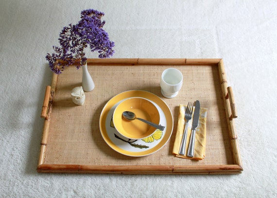 Vintage Bamboo Extra Large Tray - Breakfast TV Couch Tray