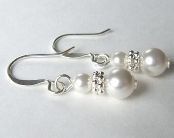 MORE COLORS Classic Swarovski Pearl Dangle Earrings Flower Girl Junior Bridesmaid E023