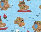 Shiver Me Timbers CW Fabric Peg Leg Island Pirate Buried Ship Wreck Sea Treasure 84-33 Aqua