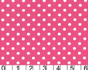 Dumb Dot Polka Dots 1/4 Quarter inch Pencil Eraser Size MM Fabric White on Magenta Pink