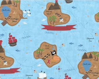 Shiver Me Timbers CW Fabric Peg Leg Island Pirate Buried Ship Wreck Sea Treasure 84-33 Aqua