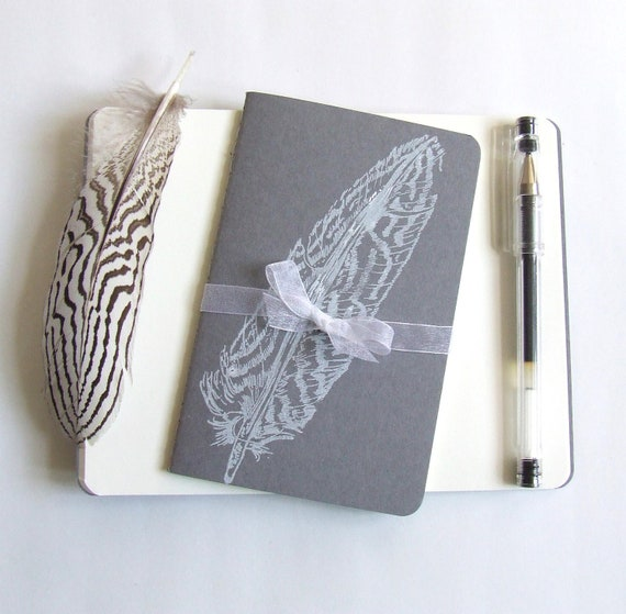 Sale Feather Notebook Grey and White Feathers