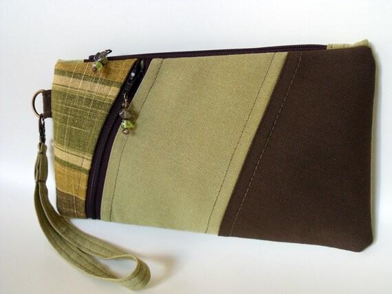 Wristlet Wallet Pouch Purse ANNIE in CELERY STRIPE