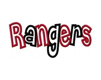 Rangers 2 color Embroidery Machine Applique Design 2870