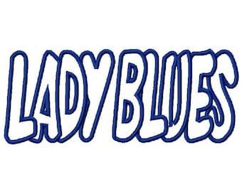 Lady Blues Embroidery Machine Applique Design 2949