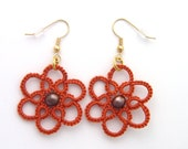 Pumpkin Orange Tatted Lace Earrings with Bronze Pearl Centers, Floral Fall Tatting Jewelry, Fall Earrings, Autumn Lace Earrings