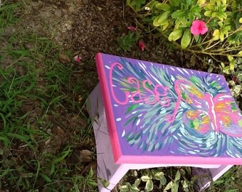 butterfly foot stool, personalized, hand painted furniture childrens, child's, stiols, abstract