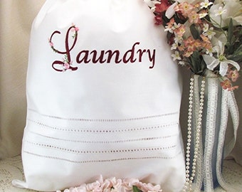 Personalized Cottage Rose Travel Laundry Bag, Monogrammed Vintage Style