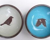 pair of crow dipper bowls