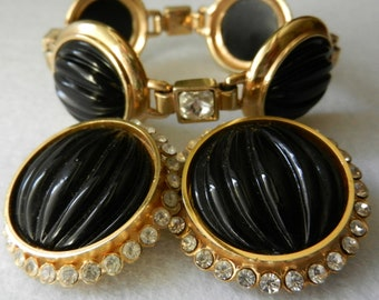 GLAM Vintage 1970 -  Bracelet & Earrings Sets - Gorgeous oversized jewelled set with crystals and large black cabochons - art.323/2-