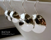 Sterling Silver Disc Earrings - Hammered Disc