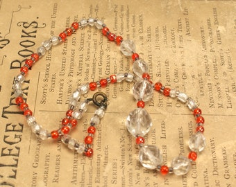 Vintage Deco Necklace Orange Clear Glass Reuse