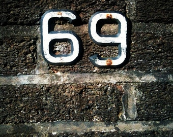 Wall and Numbers, Deteriorated Surface Textures - Square Format Fine Art Photographic Prints - Various Sizes and Finish Options Available