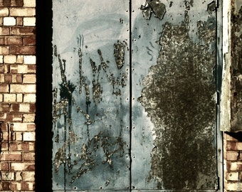 Beautiful Decay, Peeling Paint, Corroded Doors - Gallery Quality Square Fine Art Photo Print - Various Sizes and Mounting Options Available