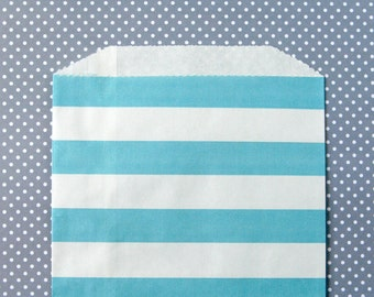 Blue Horizontal Stripe Goody Bags / Favor Bags / Treat Bags (20) - 5 x 7.5 inches