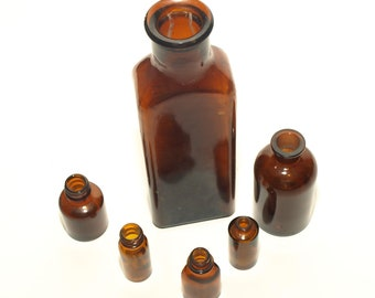 SHIPPING INCLUDED - Vintage, Six, Apothecary, Spice, Elixir, Brown, Glass Bottles