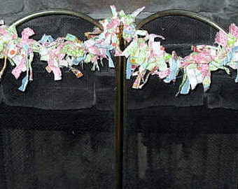 Torn Fabric Denim, Pink & Green Rag Garland
