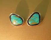 Silver Turquoise Earrings Navajo