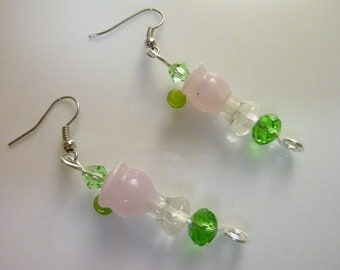 Pink  Drink --Unique Lampwork Glass Bead Earrings