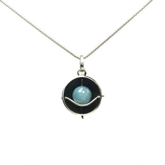 Modern Blue Quartz Silver Necklace - Planet Blue