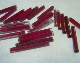 Antique Tube beads extra big 40 mm drawn glass Victorian Fringe beads