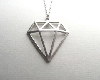 Silver diamond pendant necklace, oversized statement piece, silver chain