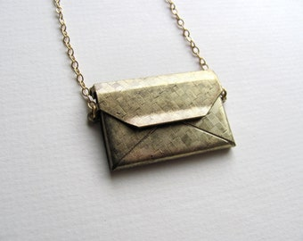 Envelope locket necklace on long 14k gold plate chain