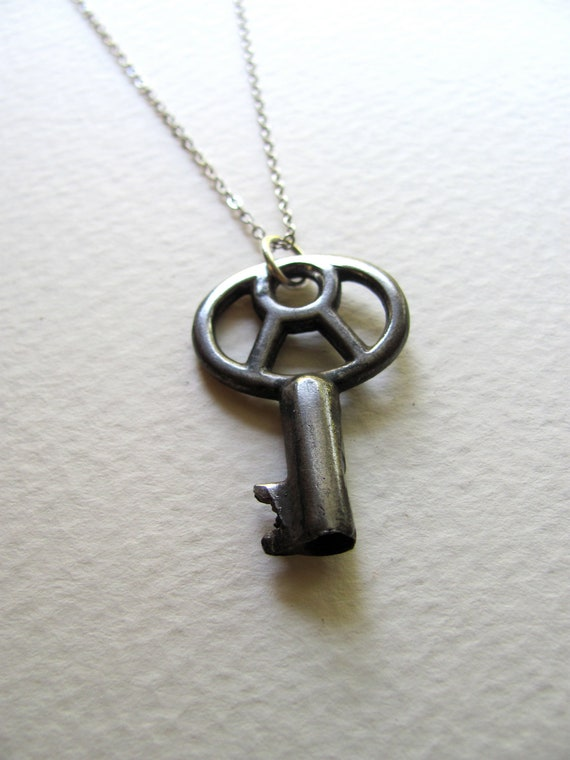 Silver key necklace, antique oxidized silver skeleton key on sterling plated chain, one of a kind